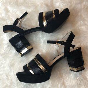 Zara Black & Gold Elegant Platform Sandals